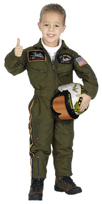 Kinder Jr. Air Force Pilot Kostüm mit Helm - Pilot Kostüme