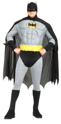 Plus Size Adult Batman mit Muskel-Brust - Batman Kostüme